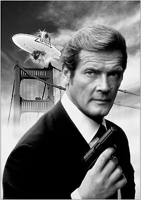 James Bond 007 Roger Moore Giant Poster Art Print Black & White in Card / Canvas