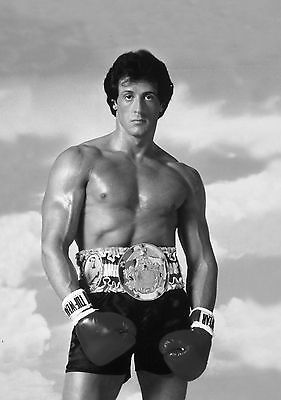 Rocky Balboa Boxing Giant Poster Art Print Black & White in Card or Canvas