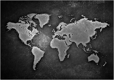 World Vintage Map Giant Poster Art Print Black & White in Card or Canvas