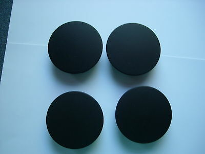 WHEEL CENTRE CAPS,( 4 ),( Black ), 49mm front by 44-45mm back ,Made in the UK.