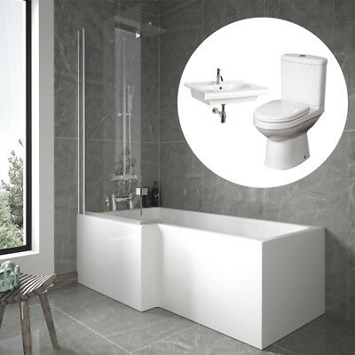 Bathroom Suite L Shape Shower Bath Panel Screen Close Coupled Toilet Basin Sink
