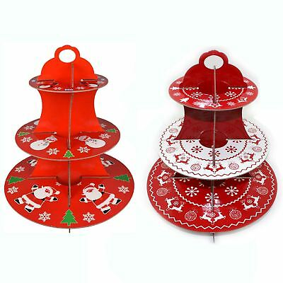 Large 3 Tier Cake Stand Cardboard Fairy Muffin Party Display Christmas Xmas Red