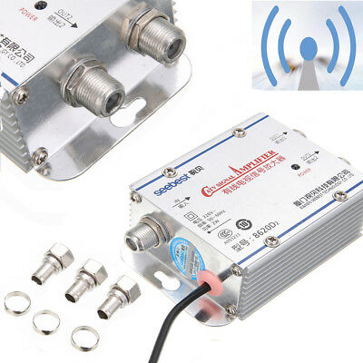 2-Way Home CATV VCR TV Antenna Signal Amplifier Booster Splitter 220V 45-860MHz
