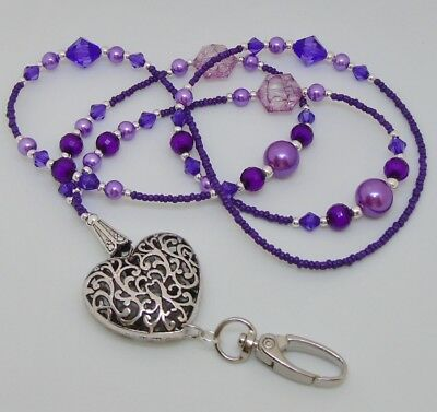 Beaded Purple Lanyard For ID Badge / Pass, Card Holder. Necklace.