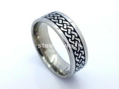 Ring Band Stainless Steel 316L Braided Design 8Mm Men's Women's