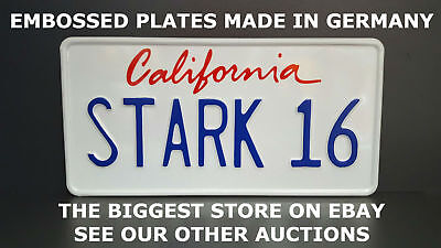 STARK 16 California US USA License Plate Number Plate Embossed Alu Ready Text