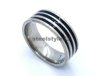 Ring Band Stainless Steel 316L Black&Silver Stripes 8Mm Men's Women's Design