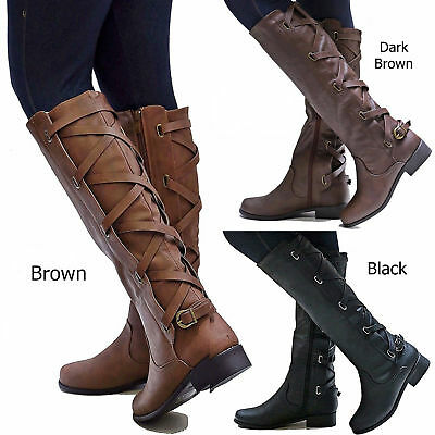 New Women 13 in. Thin Narrow Calf Width Buckle Riding Knee High Cowboy Boots
