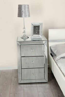 Pair of Mirrored Venetian bedside cabinet table bedroom furniture silver glass