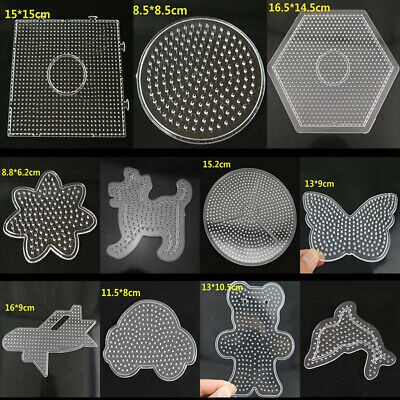 Lots New Large Fuse Perler Beads Boards Hexagon/Square/Round Pegboards for Kids