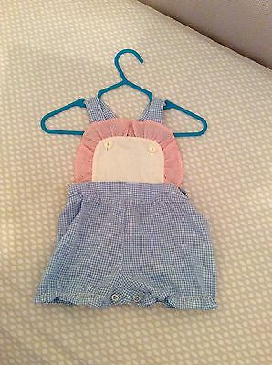 Vintage 1980s Baby Infant Girl's Overalls Romper Pink And Blue Gingham