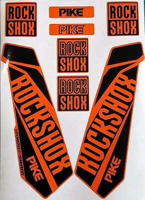 ROCKSHOX PIKE 2017 Replacement Fork Decals Stickers in Orange Rock Shox