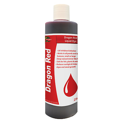 Garden Pond Lake Fountain Water Colourant HYDRA DRAGON RED LIQUID DYE 250ML