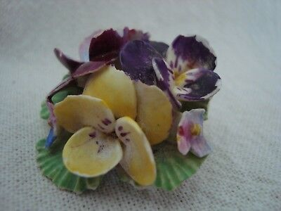 Vintage Crown China Floral Brooch - Mix Colour Pansies