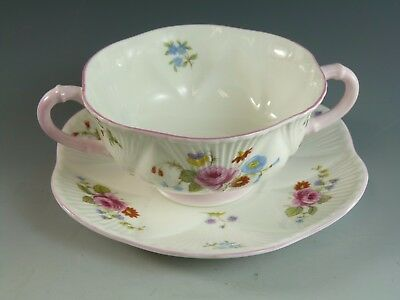 SHELLEY China - Rose & Red Daisy - Dainty Shape - 13425 - Soup Coupe & Saucer