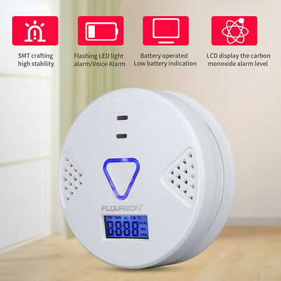 LCD CO Carbon Monoxide Alarm Detector LED light/Voice Warning Battery Powered