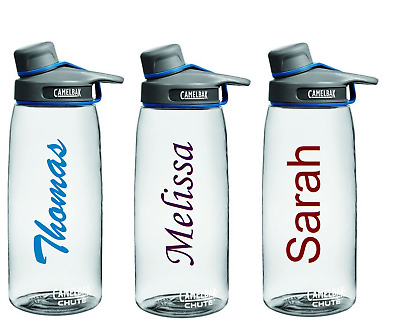2 x Personalized Name Drink Bottle School Kids Football Custom Decal Stickers