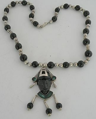 Amazing huge sterling & Onyx handmade beads necklace & face pendant Mexico Taxco