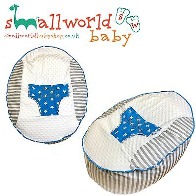 Personalised Boys Grey Stripe And Blue Stars Baby Bean Bag (NEXT DAY DISPATCH)