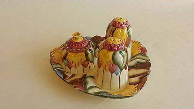 Art Deco HJ Wood Ltd Burslem Cruet set Floral  Marigold