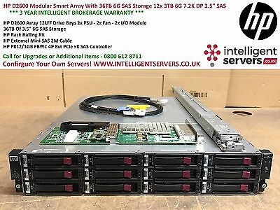 "HP D2600 Smart Array With 36TB 6G SAS Storage 12x HP 3TB 6G 7.2K DP 3.5"" SAS HDD"