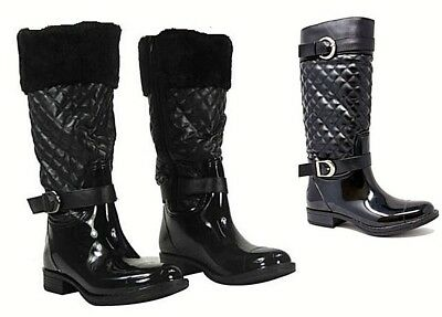 Womens Quilted Wellington Boots Side Zip Up Mid Calf Flat Fur Wellies Lined