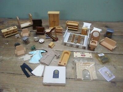 Mixed job lot of assorted dolls house furniture & accessories - see pictures