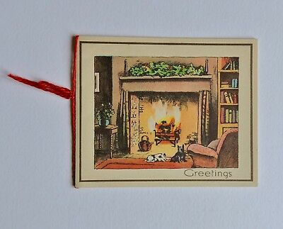 1940's Christmas Card with Dogs By The Fireside Unused 264B