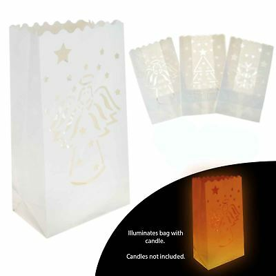 Christmas Paper Candle Bags Tealight Lantern Light Luminary Wedding Xmas Party