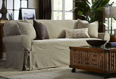 Sure Fit Sofa Slipcover Textured Linen One Piece Box Style Cushion In Sand  Color