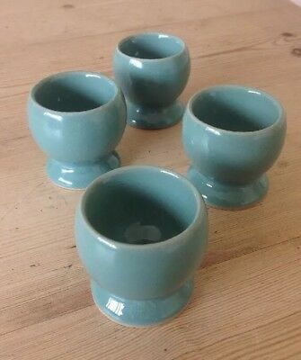 4 Denby Manor Green Egg Cups 1953> Thicker Heavier Type