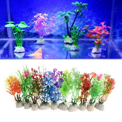 10Pcs Plastic Aquarium Multicolor Plant Fish Tank Grass Ornament Landscape Decor