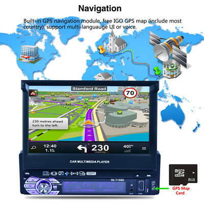 "7"" Single 1 Din Car Stereo In Dash GPS Navigation Touch Screen Radio MP5 Player"