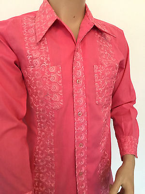 Pink Embroidered Party Shirt Breast Pocket Poly-cotton 38inch Chest Small UK