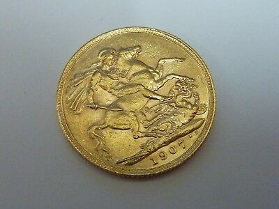 1907 King Edward VII Full sovereign 22ct gold coin
