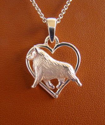 Small Sterling Silver Schipperke Moving Study On A Heart Pendant