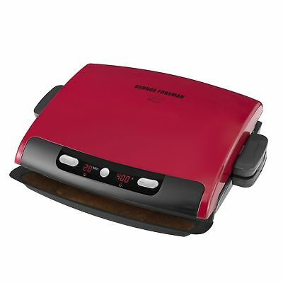 George Foreman 6 Serving ELECTRIC GRILL, Removable Plate Electric GRIDDLE, Red