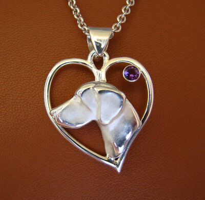 Large Sterling Silver German Shorthaired Pointer Head Study On A Heart Frame