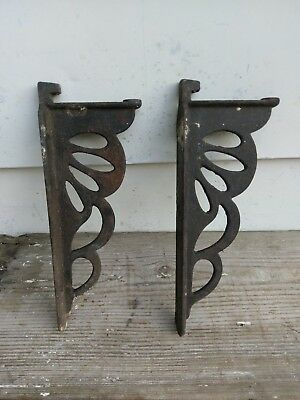 Set of 2 antique Cast Iron Decorative Shelf Brackets 1800S ORIGINAL HEAVY DUTY