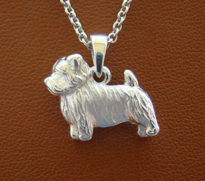 Sterling Silver Norfolk Terrier Standing Study Pendant