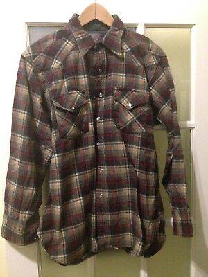 Vintage Pendleton Heavy Duty Field Shirt Pure Virgin Wool Men's Sz Large L USA