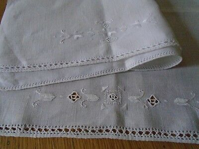 Pair Of Vintage Hand Embroidered Linen Antimacassars - Lefkara Embroidery
