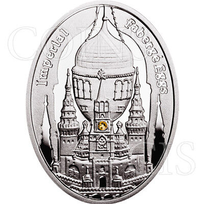 Niue 2012 1$ Moscow Kremlin Egg Imperial Faberge Egg Proof Silver Coin Swarovski