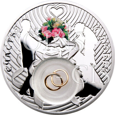 Niue 2012 2$ Wedding Coin Proof Silver Coin with 24-carat gold plated rings