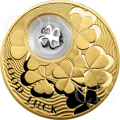 Niue 2013 2$ Four-leaf Clover Lucky Coins III Gold-plated Proof Silver Coin