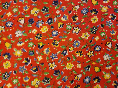 "VINTAGE BOLD COLOR RED BLUE WHITE GREEN YELLOW SMALL FLORAL PRINT FABRIC 36""x20"""