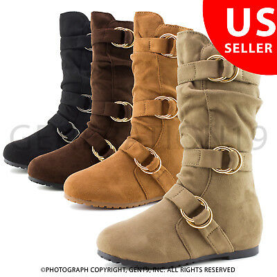 New Youth Girls Side Zipper Faux Suede Side Zipper Slouch Boots (Youth 11-4)