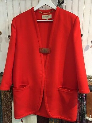 Vintage Italian Kamanta Postbox Red 60's Suit Jacket 14/16 Bright Blazer 70's