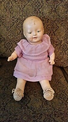 VINTAGE COMPOSITION BABY DOLL OPEN CLOSE EYES, RED LIPS - 14 - 15 inches