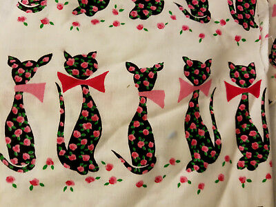 Vintage Bold Color Long Neck Cat With Bow & Roses Print Fabric Pieces